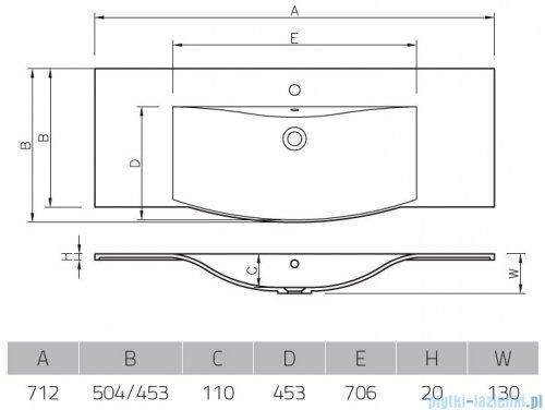 Vayer Citizen Canes 71x50cm umywalka blatowa rysunek techniczny