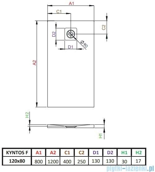 Radaway Kyntos F brodzik 120x80cm biały HKF12080-04