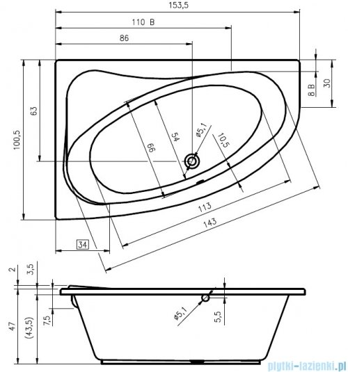 Riho Lyra wanna asymetryczna prawa 153x100 z hydromasażem TOP Hydro 6+4+2 BA67T2