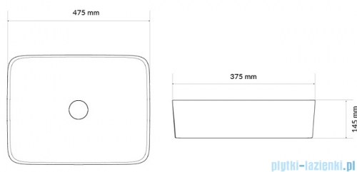 Actima Forka Umywalka nablatowa 47x37 cm CEAC.3401.475.WH