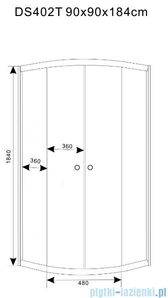 Duso kabina prysznicowa półokrągła 90x90x184cm przejrzyste DS402T