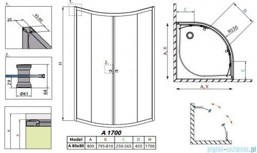 Radaway Classic A Kabina prysznicowa półokrągła z drzwiami przesuwnymi 80x80x170 szkło grafitowe profile białe 30011-04-05