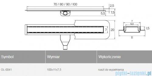 New Trendy Vimo odpływ liniowy z rusztem do wypełnienia 100x11x7,5 cm OL-0041