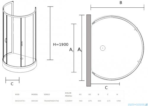 Sea Horse Stylio Black kabina przyścienna 80x100x190 cm przejrzyste BK501XTK+