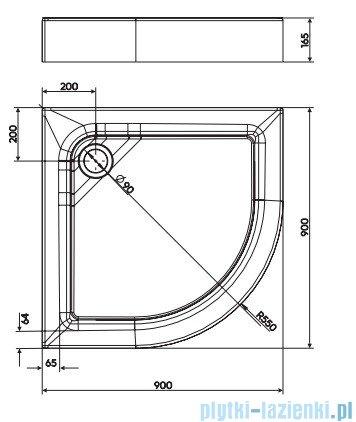 Koło First Brodzik półokrągły 90cm ze zintegrowaną obudową XBN1690