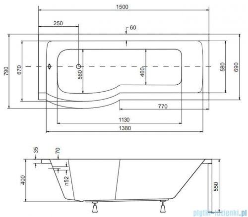 Besco Inspiro 150x70cm wanna z parawanem lewa + obudowa + syfon #WAI-150-PLE/#OAI-150-II/19975