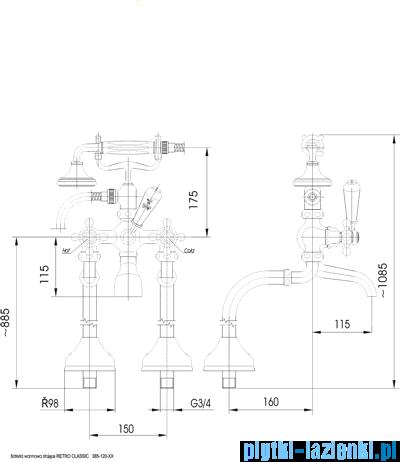 KFA RETRO-CLASSIC bateria wannowa CHROM   385-120-00