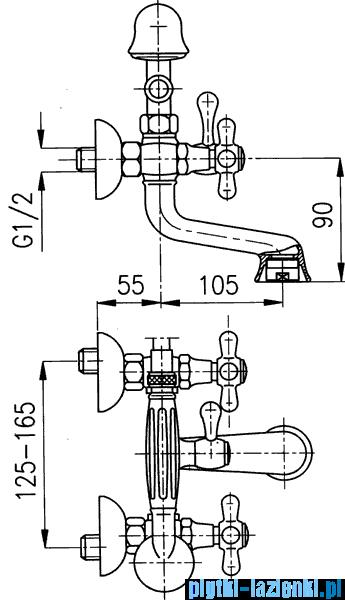 KFA RETRO bateria wannowa CHROM   374-145-00