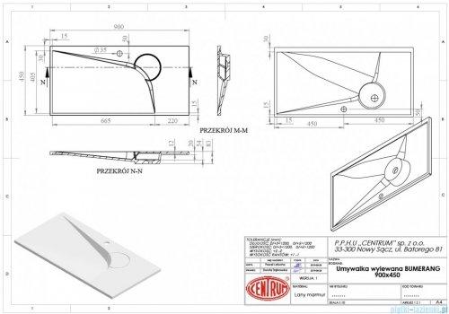 Vayer Bumerang 90x45cm Umywalka prostokątna blatowa