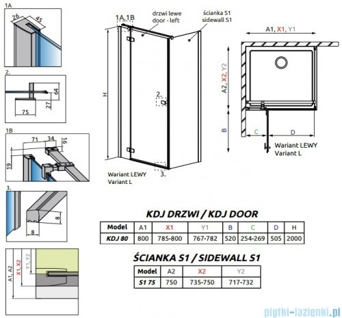 Radaway Fuenta New Kdj kabina 80x75cm lewa szkło przejrzyste 384043-01-01L/384049-01-01