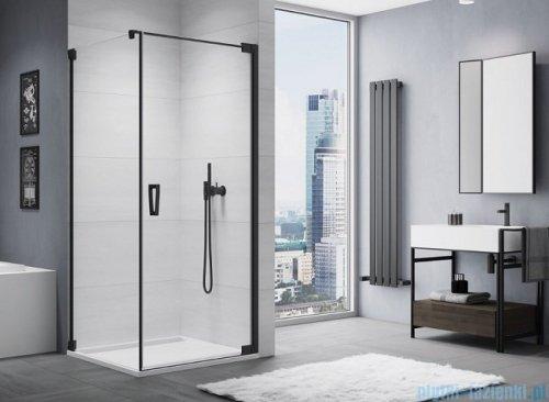 SanSwiss Cadura Black Line drzwi wahadłowe 75cm jednoczęściowe prawe z profilem przyściennym  czarny mat CA1CD0750607