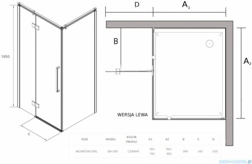 Sea Horse Fresh Line Black kabina prostokątna 100x80 cm lewa przejrzyste BK248T08/10KL