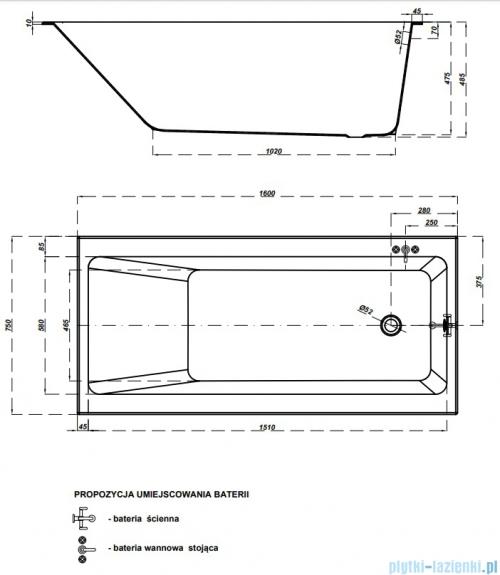 Cersanit Crea wanna prostokątna 160x75 biała S301-225