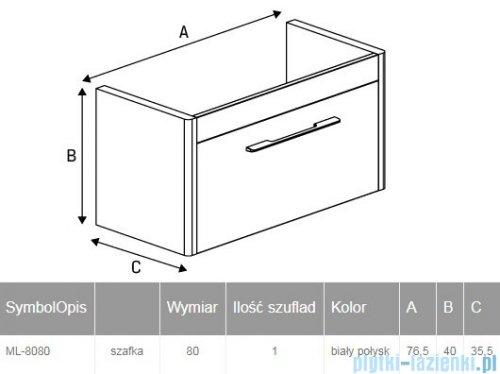 New Trendy Vito szafka umywalkowa 80 cm biały  połysk ML-8080