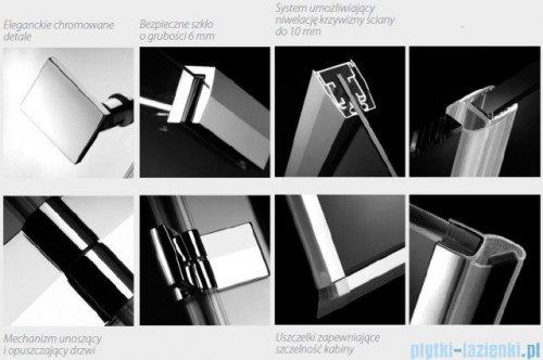 Radaway Kabina prysznicowa Almatea KDJ+S 90x100x90 prawa szkło przejrzyste + brodzik Doros D + syfon 31554-01-01R1/31554-01-01R2