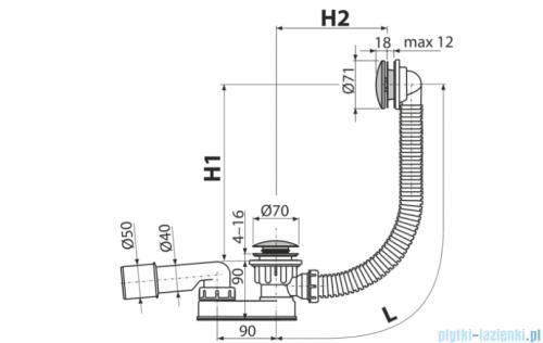 Alcaplast  syfon wannowy klik-klak, chrom A507KM-100