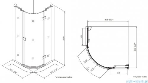Roca Metropolis Rondo kabina półokrągła 90x90cm szkło przejrzyste AMP3609012M