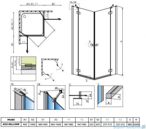 Radaway Fuenta New Kdd kabina 90x100cm szkło przejrzyste 384060-01-01L/384062-01-01R