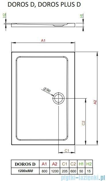 Radaway Arta Kdj II kabina 120x80cm prawa szkło przejrzyste + brodzik Doros D + syfon