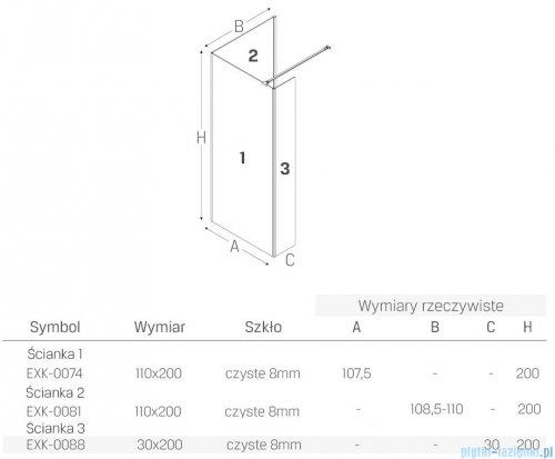New Trendy New Modus Black kabina kwadratowa Walk-In 110x110cm przejrzyste EXK-0074/EXK-0081/EXK-0088