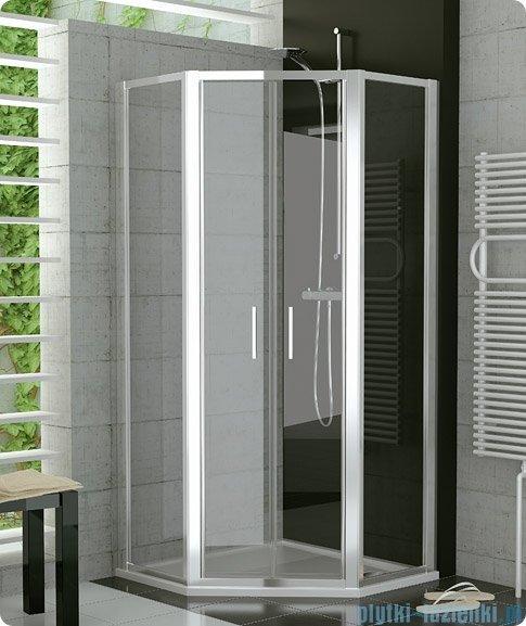 SanSwiss Top-Line Pięciokątna kabina prysznicowa TOP52 z drzwiami otwieranymi 100x100cm Durlux/połysk TOP5261005022