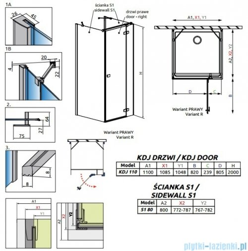 Radaway Fuenta New Kdj+S kabina 80x110x80cm prawa szkło przejrzyste 384023-01-01R/384051-01-01/384051-01-01