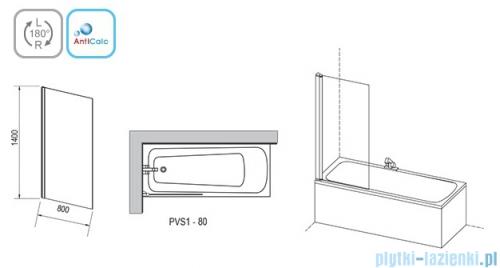 Ravak Pivot PVS Parawan nawannowy 80cm biały transparent 79840100Z