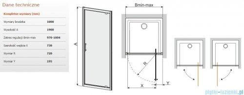 Sanplast Tx drzwi przesuwne DJ/TX5b 100x190 cm przejrzyste 600-271-1060-38-401