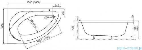 Polimat Marea wanna asymetryczna 150x100 lewa + obudowa + syfon 00295/00296/19975