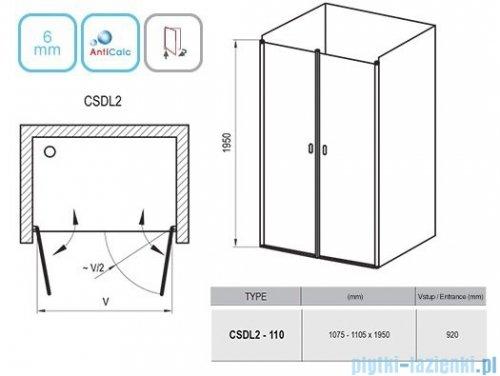 Ravak Chrome CSDL2 drzwi prysznicowe 110cm satyna transparent 0QVDCU0LZ1