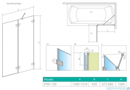 Radaway Euphoria Pnd II parawan nawannowy 130cm prawy szkło przejrzyste 10008130-01-01R