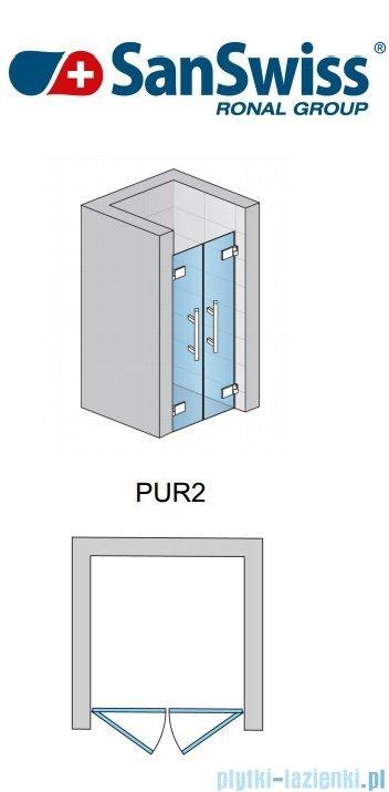 SanSwiss Pur PUR2 Drzwi 2-częściowe wymiar specjalny profil chrom szkło Efekt lustrzany PUR2SM11053