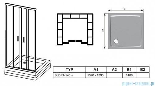 Ravak Blix BLDP4 drzwi prysznicowe 140cm satyna grape Anticalc 0YVM0U00ZG