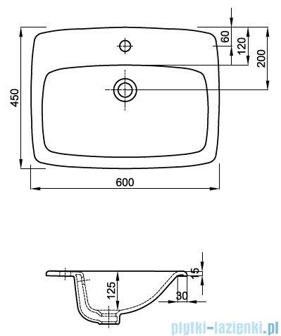 Koło Nova Pro Umywalka Wpuszczana W Blat 60 Cm Z Otworem Z Przelewem
