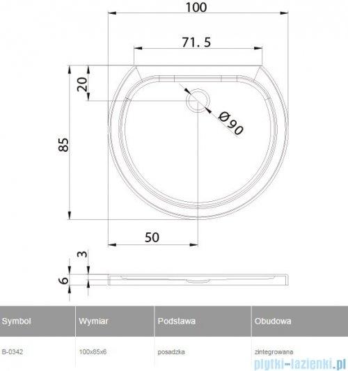 New Trendy Rondo Ultra brodzik przyścienny posadzkowy 100x85x6cm B-0342