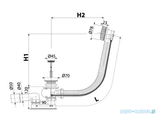 Alcaplast  syfon wannowy automatyczny mosiądz antyczny A55ANTIC-80