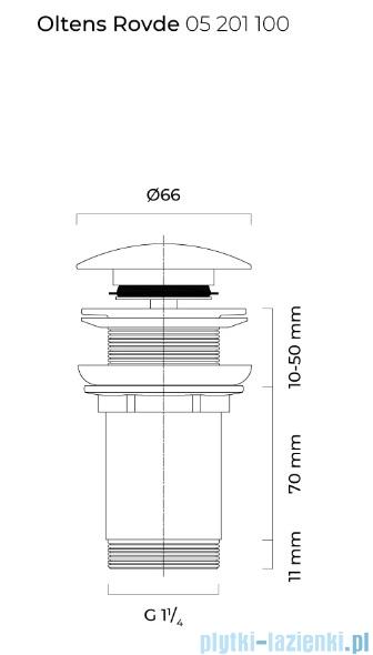Oltens Rovde korek do umywalki klik klak okrągły bez przelewu G1 1/4 chrom 05201100