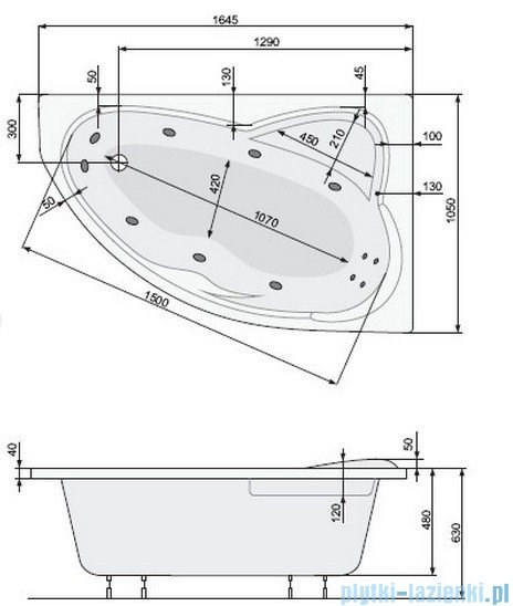 Poolspa Wanna asymetryczna EUROPA 165x105 lewa + hydromasaż Smart 1 PHA4810ST1C0000