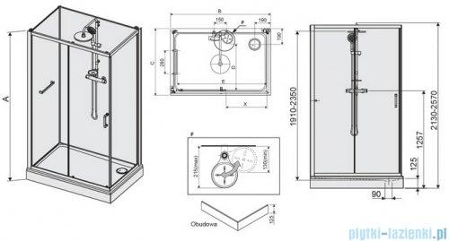 Sanplast Classic II Kabina czterościenna kompletna KCD2/CLIIa-80x120-S 80x120x210 cm przejrzysta 602-011-0291-38-4S1