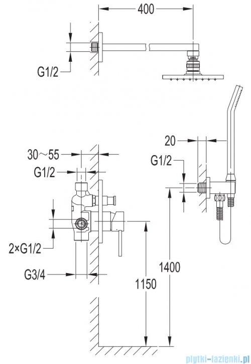 Omnires Darling kompletny system podtynkowy czarny półmat SYSDA19ABL