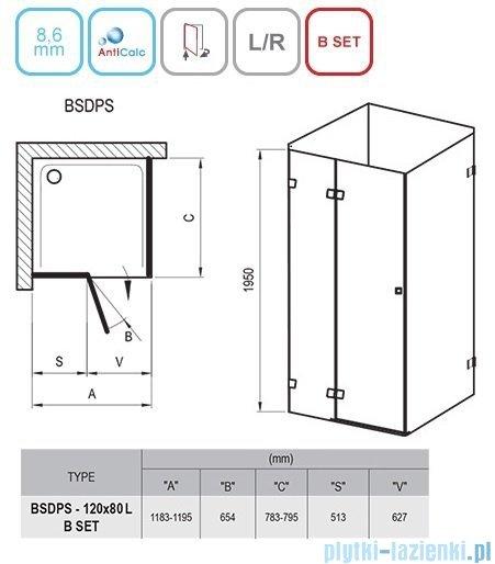 Ravak Brilliant BSDPS kabina prostokątna 120x80cm lewa transparent 0ULG4A00Z1