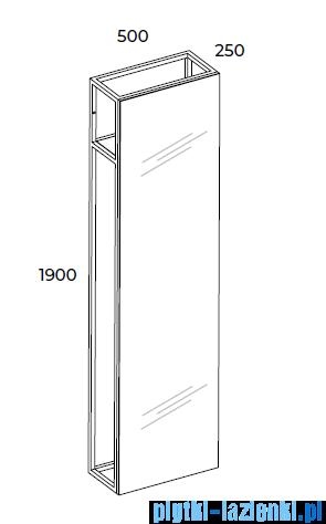 Elita Indus Lustro z ramą stojące w stylu Loft 50x190x25cm black 168366