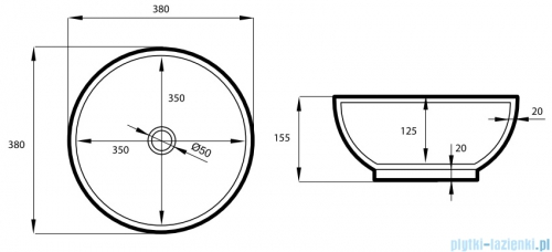 Massi Bol umywalka nablatowa 38x15,5cm biała MSU-5604