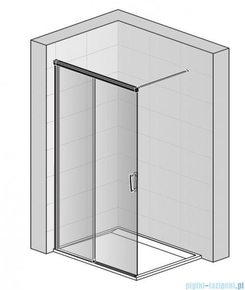 SanSwiss Cadura Black Line kabina Walk in 100cm lewa ze ścianką przesuwną profile czarny mat CAW2G1000607