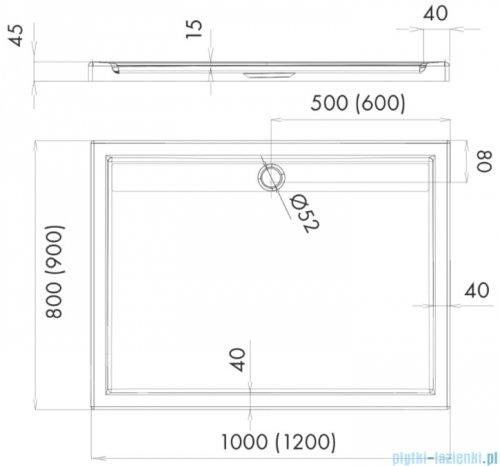 Schedpol Schedline Estra brodzik prostokątny 100x80x4,5cm 3SP.E3P-80100