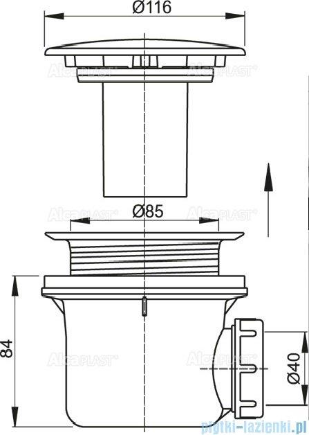 Alcaplast syfon brodzikowy Ø90 korek, metalowy LUX A49K MAT