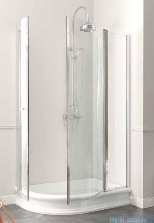 Kerasan Kabina półokrągła lewa szkło przejrzyste profile chrom 80x120 Retro 9138T0