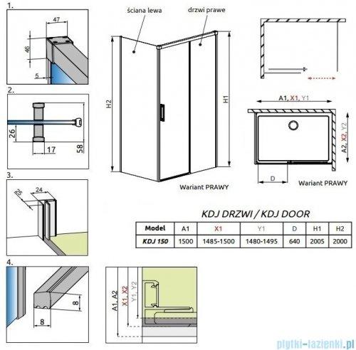 Radaway Idea Black Kdj drzwi 150cm prawe szkło przejrzyste 387045-54-01R
