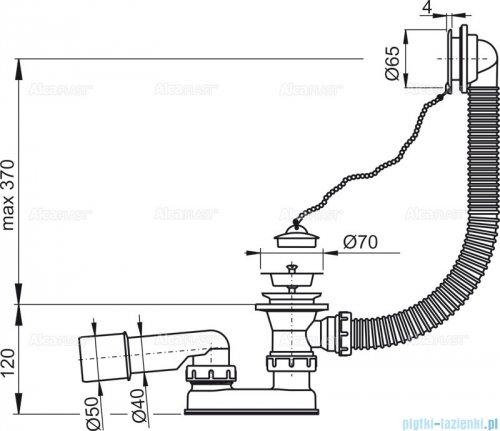 Alcaplast Basic syfon wannowy z korkiem gumowym chrom A501