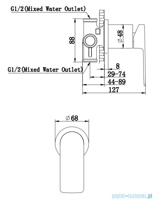 Kohlman Proxima bateria podtynkowa chrom QW220P